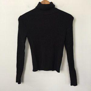 Zara Knit Black Ribbed Turtleneck Sweater